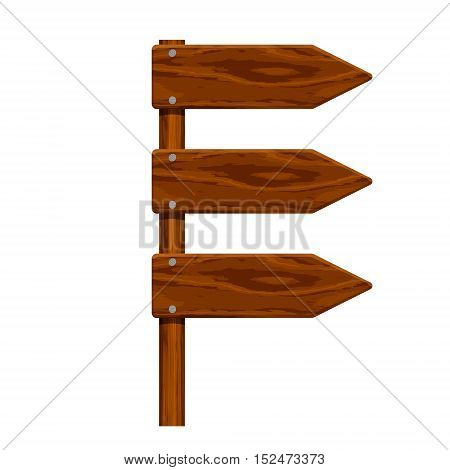 realistic wooden arrow set nailed isolated on white background. Vector illustration.