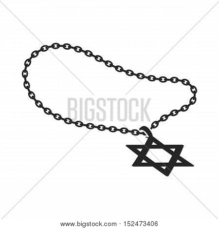 Star of David icon in black style isolated on white background. Religion symbol vector illustration.