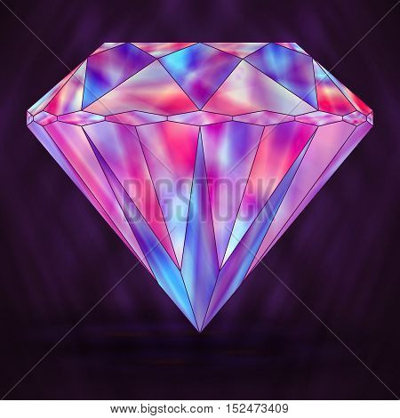 Sign Colorful Pink Crystal. Purple Object Gemstone.