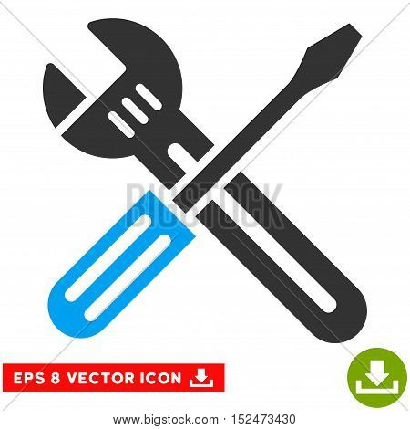 Spanner and Screwdriver EPS vector pictogram. Illustration style is flat iconic bicolor blue and gray symbol on white background.