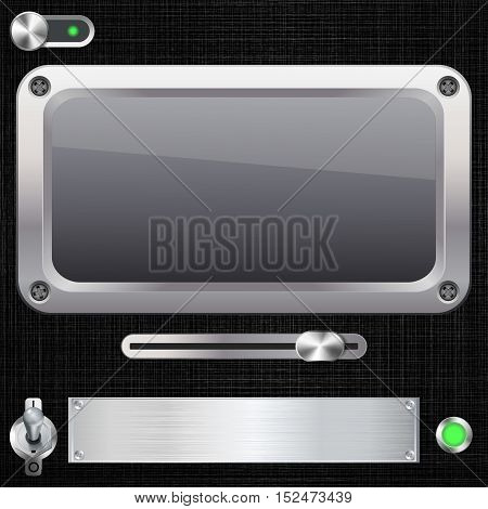 Blank screen with switches on black. Vector illustration.