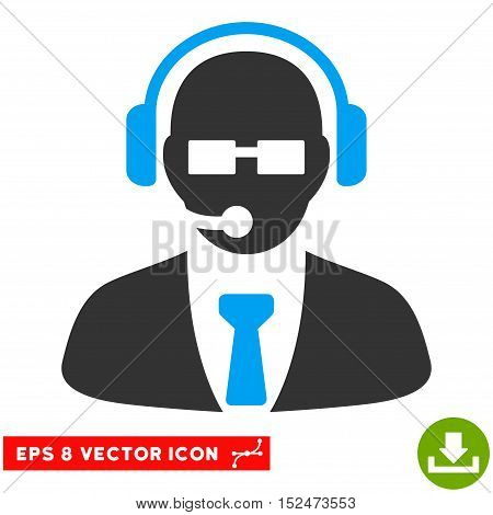 Support Manager EPS vector pictograph. Illustration style is flat iconic bicolor blue and gray symbol on white background.