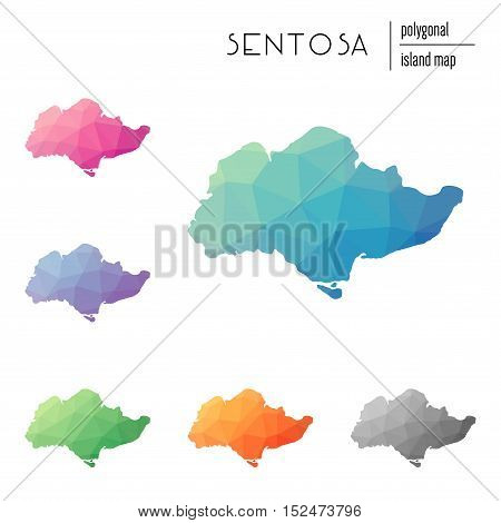 Set Of Vector Polygonal Sentosa Maps Filled With Bright Gradient Of Low Poly Art. Multicolored Islan
