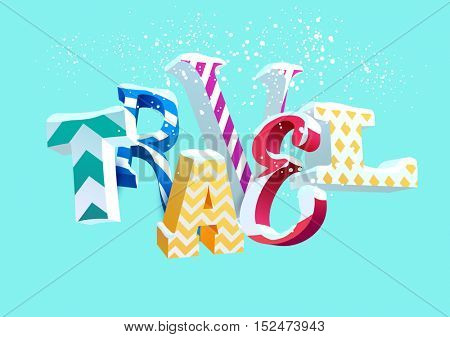 Winter travel - vector colorful word. Typographic illustration.