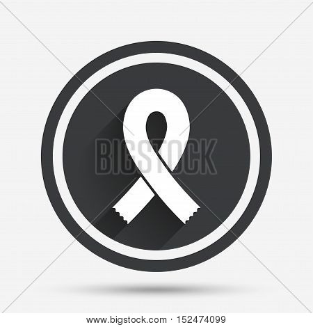 Ribbon sign icon. Breast cancer awareness symbol. Circle flat button with shadow and border. Vector