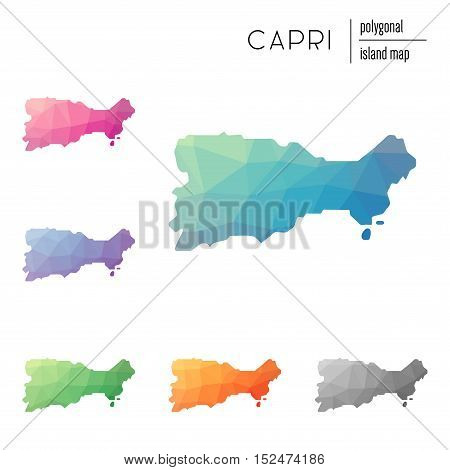 Set Of Vector Polygonal Capri Maps Filled With Bright Gradient Of Low Poly Art. Multicolored Island