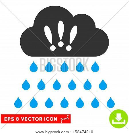 Thunderstorm Rain Cloud EPS vector pictogram. Illustration style is flat iconic bicolor blue and gray symbol on white background.