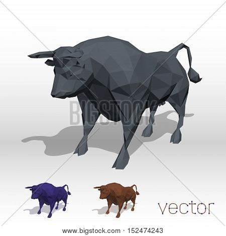 Abstract bull polygonal on white . Vector illustration.