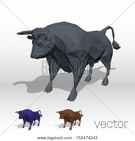 Abstract bull polygonal on white . Vector illustration.