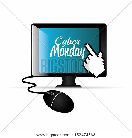 computer balck cyber monday e-commerce vector illustration eps 10