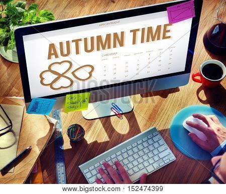 Autumn Season Change Falling Calendar Organization Clover Concept