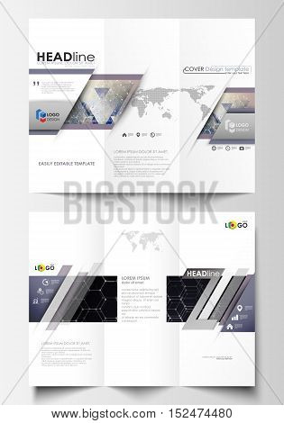 Tri-fold brochure business templates on both sides. Easy editable abstract vector layout in flat design. Chemistry pattern, hexagonal molecule structure. Medicine, science, technology concept