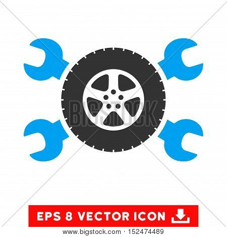 Tire Service Wrenches EPS vector pictograph. Illustration style is flat iconic bicolor blue and gray symbol on white background.