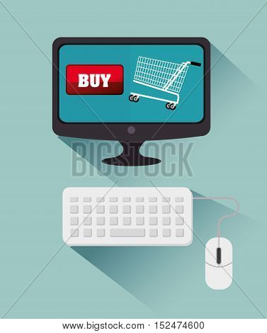computer cyber monday bying cart vector illustration eps 10