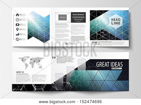 Set of business templates for tri-fold brochures. Square design. Leaflet cover, easy editable vector layout. Chemistry pattern, hexagonal molecule structure. Medicine, science and technology concept