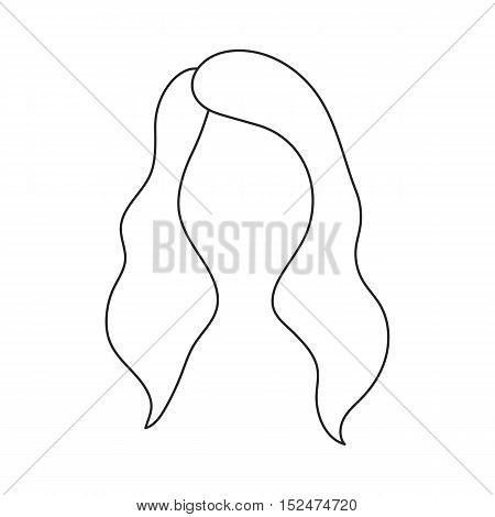 Woman's hairstyle icon in outline style isolated on white background. Beard symbol vector illustration.