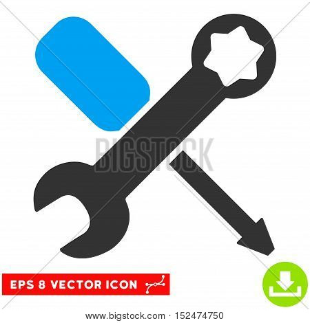 Tools EPS vector icon. Illustration style is flat iconic bicolor blue and gray symbol on white background.