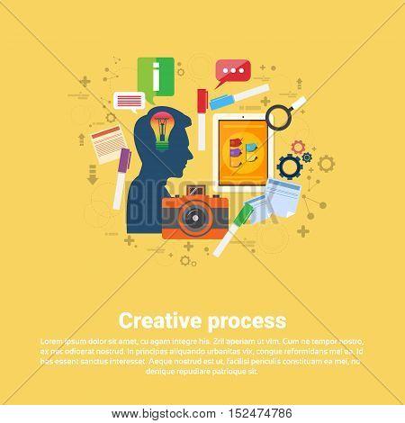 New Idea Inspiration Creative Process Business Web Banner Flat Vector Illustration