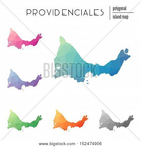 Set Of Vector Polygonal Providenciales Maps Filled With Bright Gradient Of Low Poly Art. Multicolore