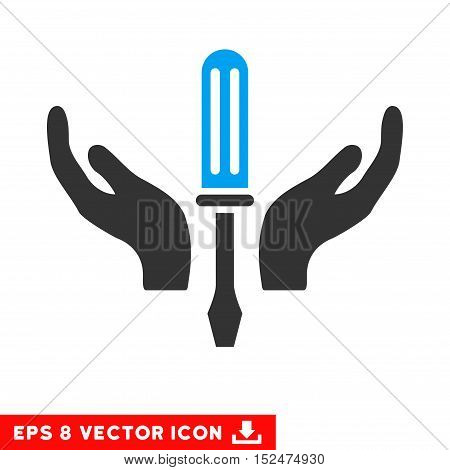 Tuning Screwdriver Maintenance EPS vector pictogram. Illustration style is flat iconic bicolor blue and gray symbol on white background.