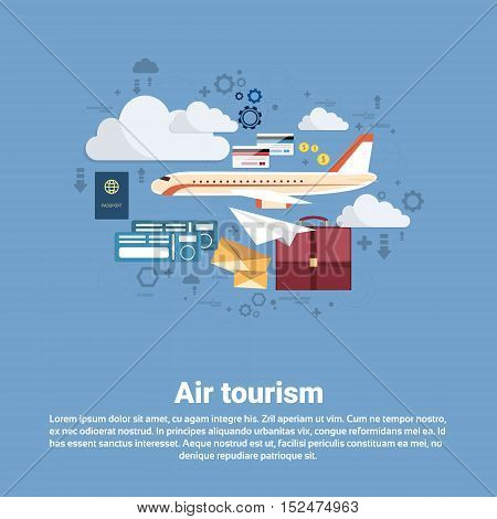 Airplane Transportation Air Tourism Web Banner Flat Vector Illustration