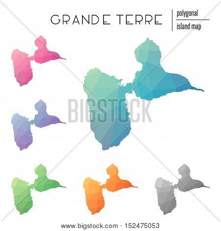 Set Of Vector Polygonal Grande-terre Maps Filled With Bright Gradient Of Low Poly Art. Multicolored