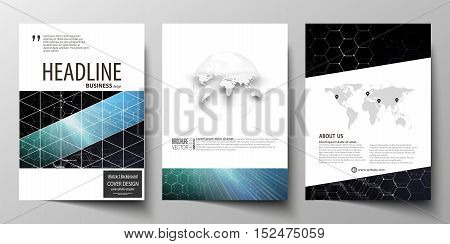 Templates for brochure, magazine, flyer or report. Cover design template, easy editable vector layout in A4 size. Chemistry pattern, hexagonal molecule structure. Medicine and science concept.