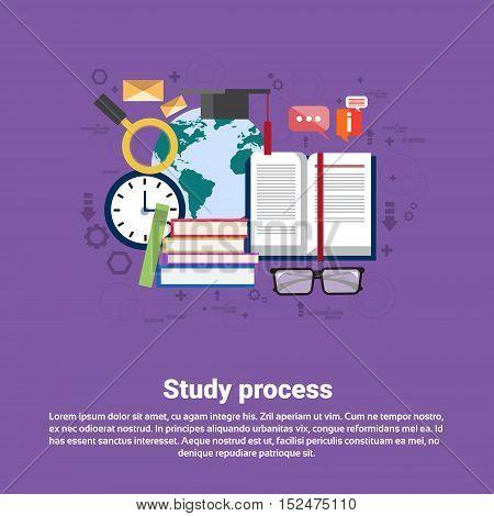 School Study Process University Education Web Banner Flat Vector Illustration