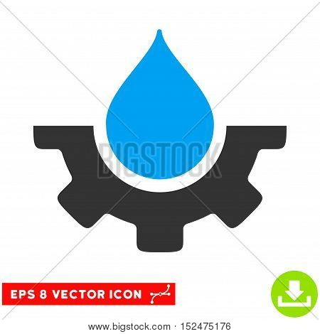 Water Service EPS vector icon. Illustration style is flat iconic bicolor blue and gray symbol on white background.