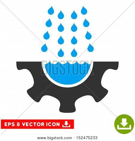 Water Shower Service Gear EPS vector pictogram. Illustration style is flat iconic bicolor blue and gray symbol on white background.