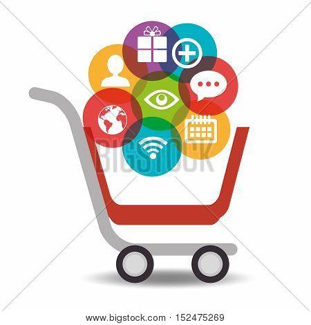 media social cart shop icons vector illustration eps 10
