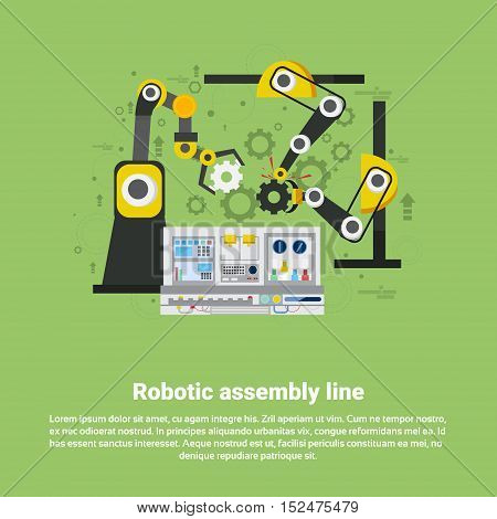 Robotic Assembly Line Industrial Automation Industry Production Web Banner Flat Vector Illustration