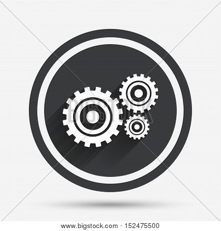 Cog settings sign icon. Cogwheel gear mechanism symbol. Circle flat button with shadow and border. Vector