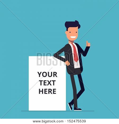 Smiling businessman stands near the net advertising poster where you can place your text. A man in a business suit next to a blank poster or banner. Happy man. An employee in the office