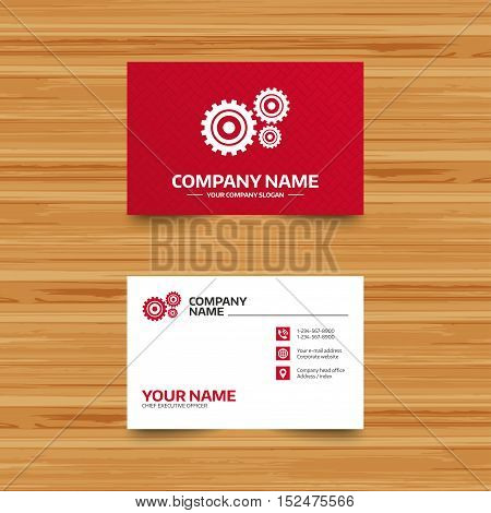 Business card template. Cog settings sign icon. Cogwheel gear mechanism symbol. Phone, globe and pointer icons. Visiting card design. Vector