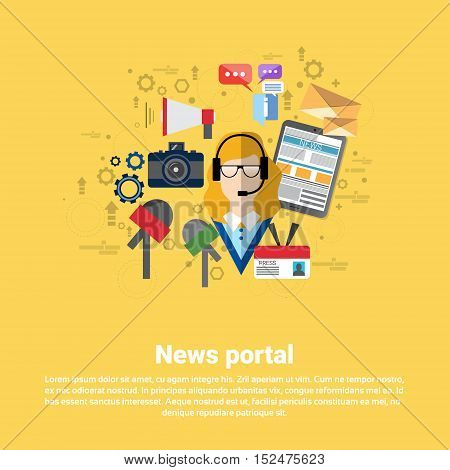 News Internet Portal Application Web Banner Flat Vector Illustration