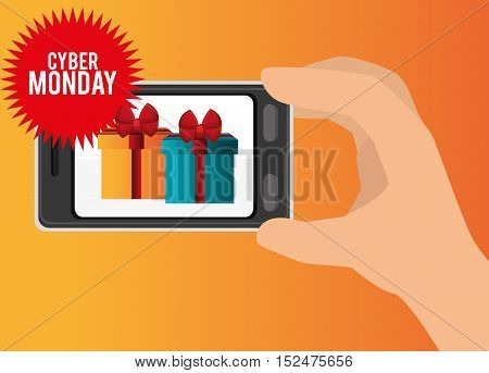 mobile phone discount gift cyber monday vector illustration eps 10
