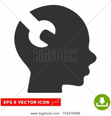 Brain Wrench Tool EPS vector pictogram. Illustration style is flat iconic gray symbol on white background.