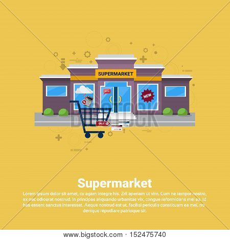 Supermarket Retail Store Online Shopping Commerce Web Banner Flat Vector Illustration