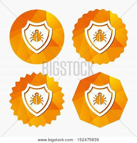 Shield sign icon. Virus protection symbol. Bug symbol. Triangular low poly buttons with flat icon. Vector