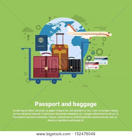Passport Luggage Airplane Departure Transportation Air Tourism Web Banner Flat Vector Illustration