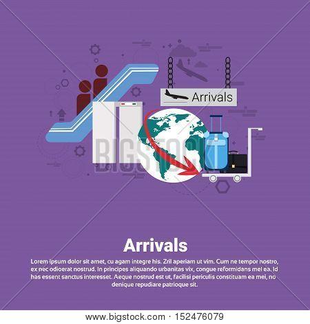 Airplane Arrivals Transportation Air Tourism Web Banner Flat Vector Illustration