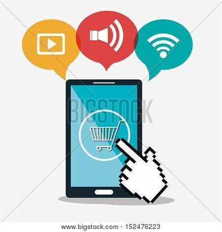 smartphone cyber monday shop cart commerce vector ilustration eps 10