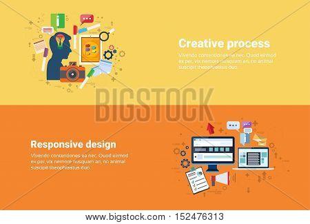 New Idea Inspiration Creative Process, Technology Computer Responsive Design Web Banner Flat Vector Illustration