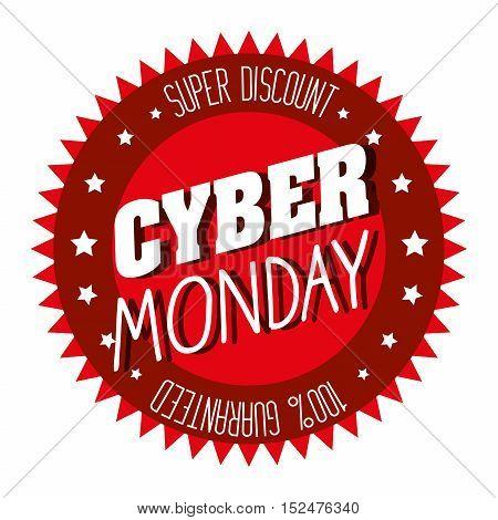 cyber monday emblem super discount vector illustration eps 10