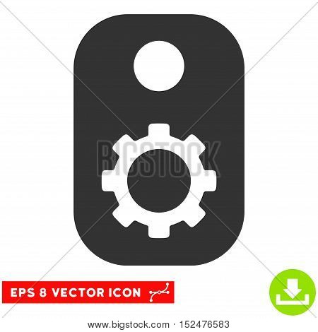 Gear Tag EPS vector pictogram. Illustration style is flat iconic gray symbol on white background.