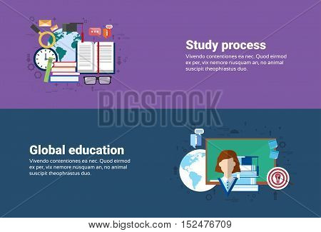 Study Process, Global School University Education Web Banner Flat Vector Illustration