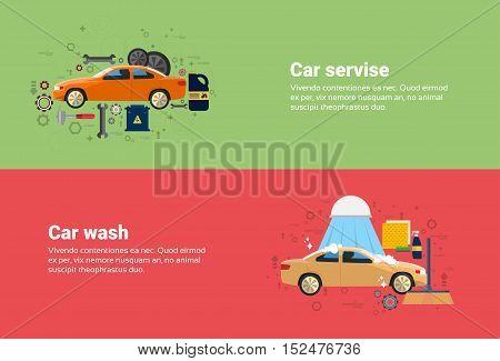 Car Wash Service Auto Business Web Banner Flat Vector Illustration