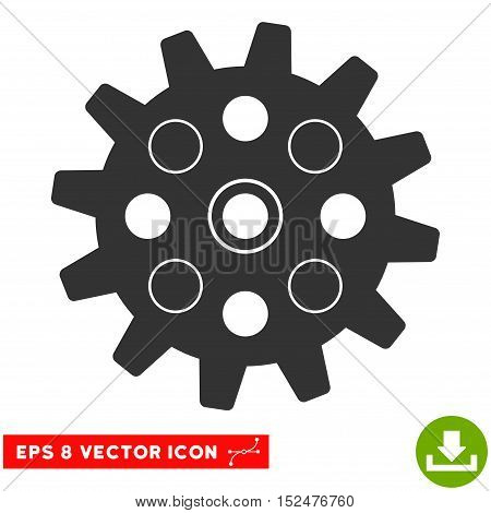 Gearwheel EPS vector pictograph. Illustration style is flat iconic gray symbol on white background.