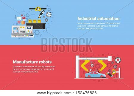Manufacture Robots Industrial Automation Production Web Banner Flat Vector Illustration